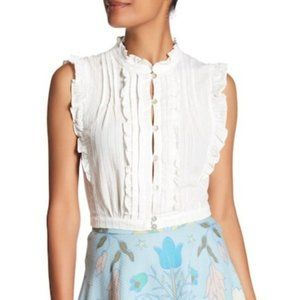 NWT Plenty by Tracy Reese Crop Ruffle Blouse Top L